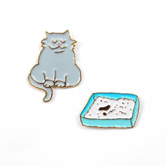 Cat & litter Pins Set