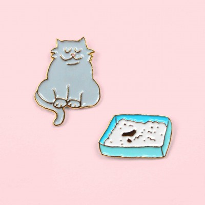 Cat & litter Pins Set