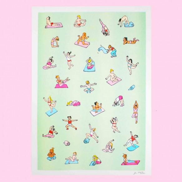 Yoga Risograph Print