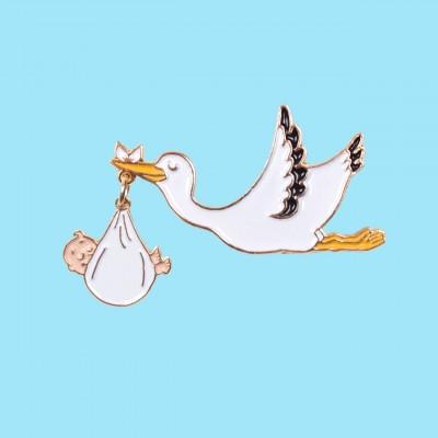 Stork Pin - White Baby