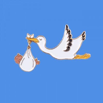 Stork Pin - Black Baby
