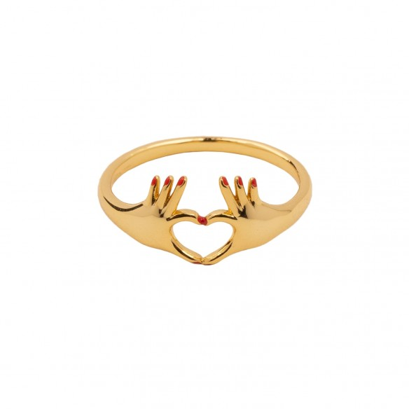 Gold plating ring with finger heart
