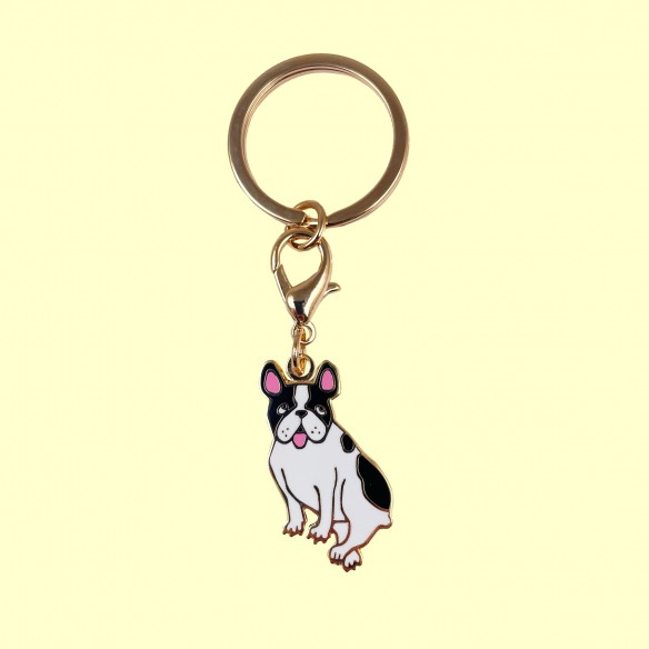 Bouledogue key ring and medal for dog collar