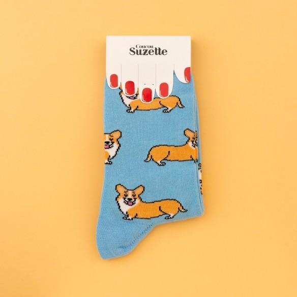 Corgi cotton socks in packaging