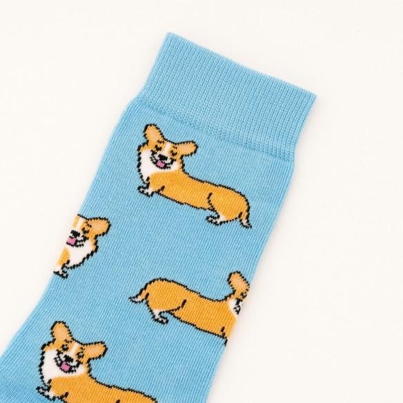 Closeup cotton socks corgi coucou suzette