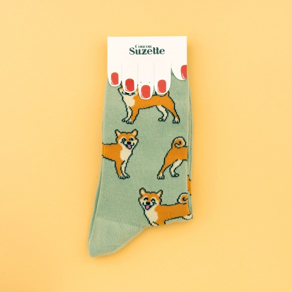 Shiba cotton socks in packaging