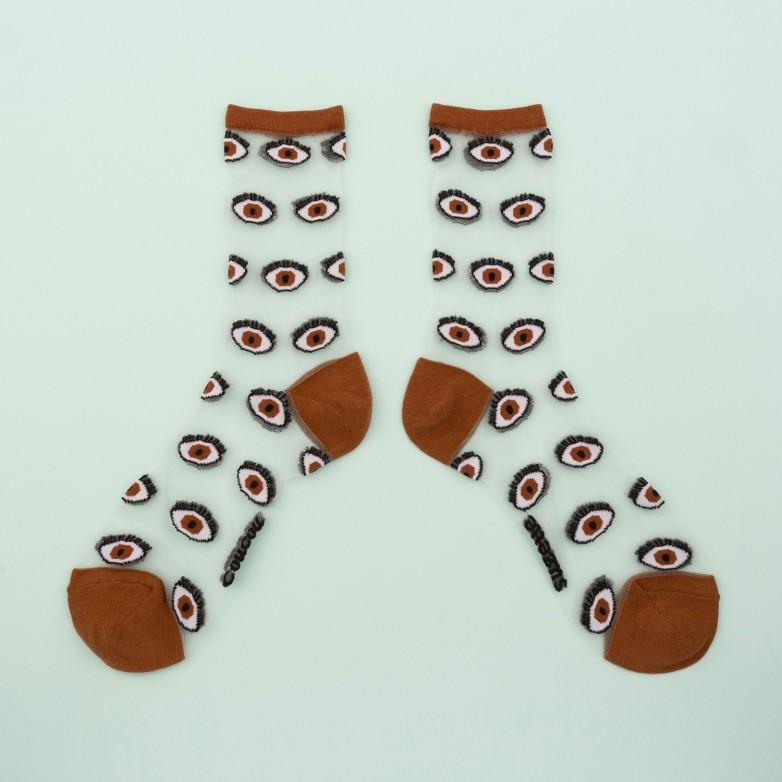 Eyes Sheer Socks - Brown