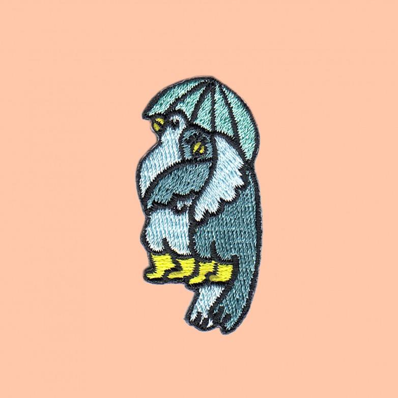 Ecusson Pigeons Parapluie