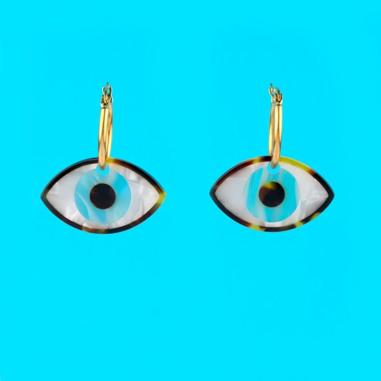 Boucles d'Oreilles Oeil - Bleu