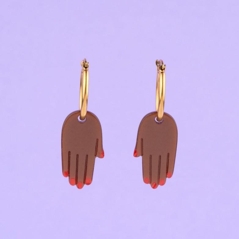 Boucles d'Oreilles Main - Noir